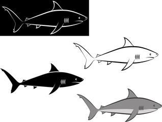 isolated shark - clip art illustration and line art