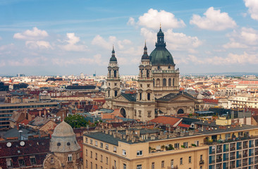 Printed roller blinds Madrid Roofs of Budapest with the Saint Stephen Basilica in Hungary