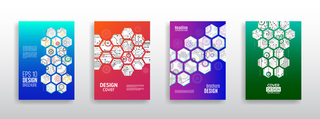 Abstract technology cover with hexagon elements. High tech brochure design concept. Futuristic business layout. Digital poster templates.