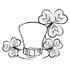 grunge st patrick hat with clover plants