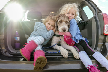 Portrait of smiling sisters embracing dog sitting in car trunk