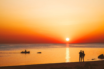 Orange sunset at the Gulf of Finland