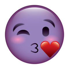 purple emoticon cartoon face blowing a kiss love vector illustration