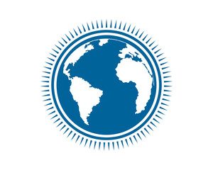 blue earth globe world image vector icon
