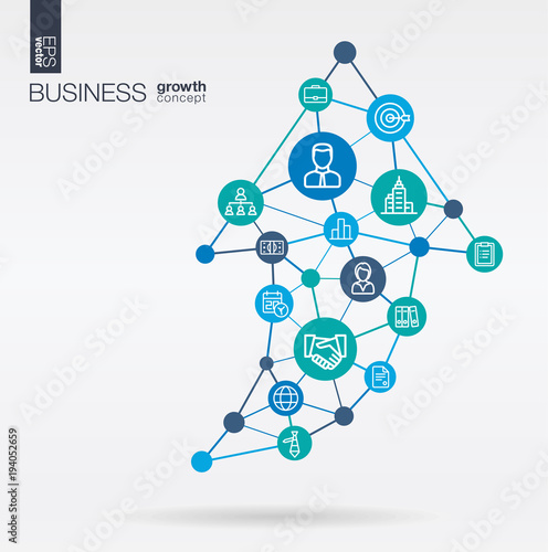 Business integrated thin line web icons  Graph chart growth