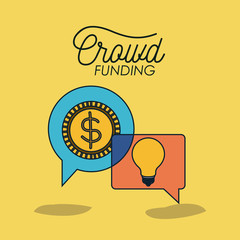 crowdfunding poster with coin and light bulb in bubble speech in yellow background vector illustration