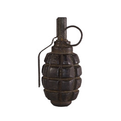 old rusty training hand grenade isolated