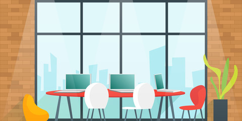 Office desk for team planning and working In the meeting room. Coworking space concept. Cartoon Vector illustration