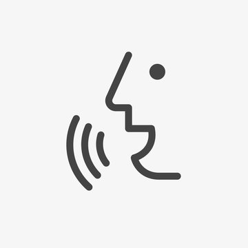 Voice recognition concept. Voice control Black line, online, thin trendy logo, flat adaptation design for web site, mobile app, EPS isolated on white