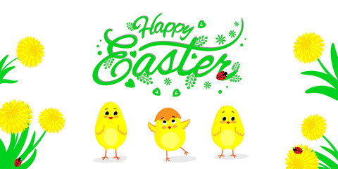 Three little chickens and lettering Happy Easter on a white backgroung. Vector illustration.