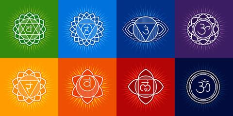 Chakras system of human body - used in Buddhism and Ayurveda. For design, associated with yoga - poster, banner. Vector Sahasrara, Ajna, Vishuddha, Anahata, Manipura, Swadhisthana, Muladhara, symbol O