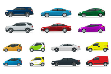 Flat high quality city transport car icon set. Sedan, van, cargo truck, off-road. Urban public and freight transport for for infographics, game Cars