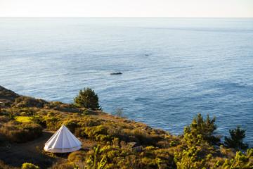 Yurt/tent on coastline of California coast