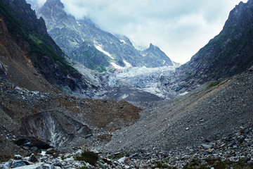 View of glacier and icefall