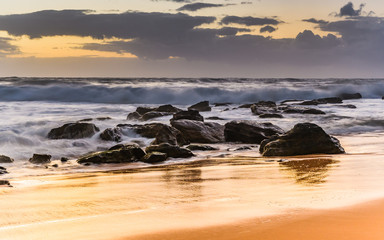 Surfs Up! - Rocky Sunrise Seascape