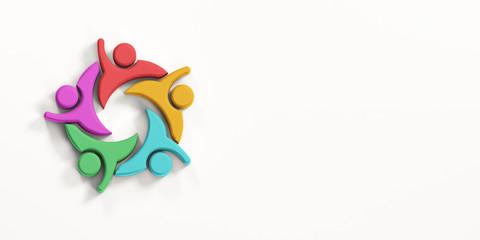 Business People Team Cheering Achievement. 3D Render Illustration