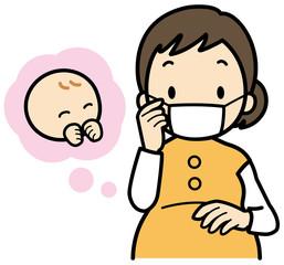 マスクをする妊婦