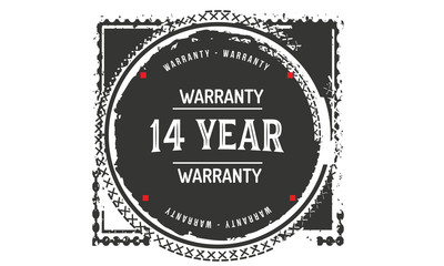 14 years warranty icon vintage rubber stamp guarantee