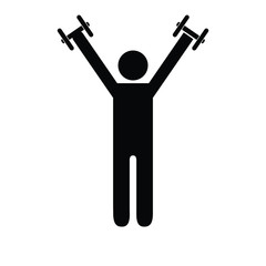 Pictogram man holding light dumbbells above his shoulders. Isolated vector on white background.