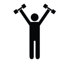 Pictogram man holding dumbbells above his shoulders. Isolated vector on white background.
