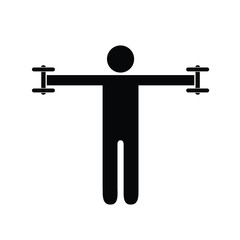 Pictogram man holding light dumbbells on his sides at shoulder height. Isolated vector on white background.
