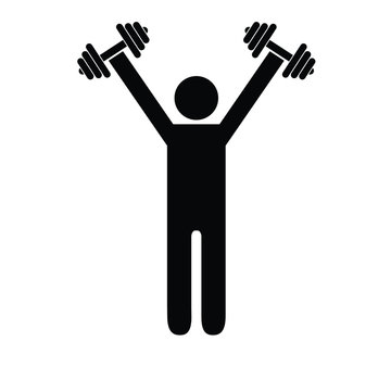 Pictogram man holding heavy dumbbells above his shoulders. Isolated vector on white background.