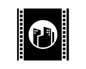building film camera lens skyscraper skyline cityscape image vector icon