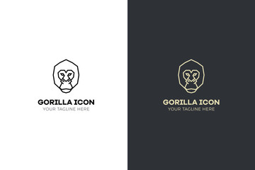 Stylized geometric Gorilla head illustration. Vector icon tribal ape design