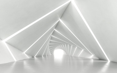 Abstract white twisted corridor, 3d rendering