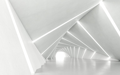 Abstract white twisted corridor, 3d rendering Fototapete