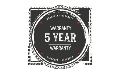5 years warranty icon vintage rubber stamp guarantee