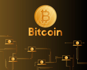 Bitcoin cryptocurrency on brown background style