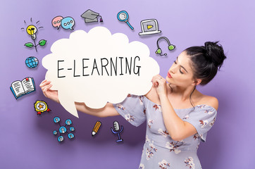 E-Learning with young woman holding a speech bubble
