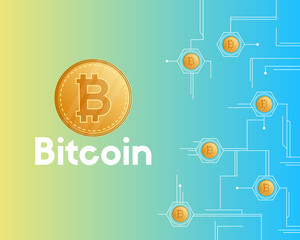 Bitcoin cryptocurrency networking concept background style