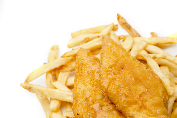 Fried Fish and Chips on a White Background