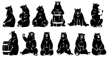 Decorative illustration sitting bears. Black silhouette. Isolated on a white background.