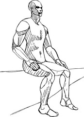 Sitting male figure vector sketch, life drawing anatomy pose reference
