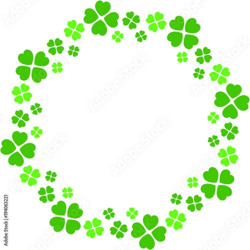four leaf clover circle frame 1 fotolia com の ストック画像と