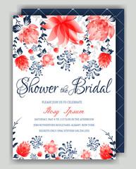 Floral Frame Bridal Shower Invitation or Weedding card