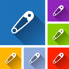 safety pin icons with shadow