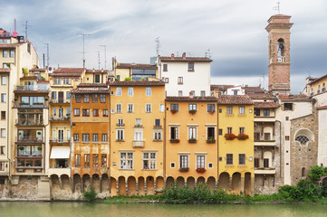 Wall Mural - Arno river and historical buildings in Florence, Tuscany, Italy, Europe.