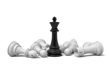 3d rendering of a single black chess king stands among many fallen white chess pieces.
