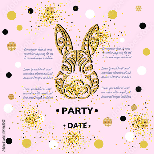 Bunny Head Isolated On Background With Golden Confetti Rabbit As Baby Shower Easter Logo Pet Badge Template For Birthday Day