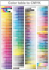 Color table Pantone to CMYK. Color print test page. Illustration CMYK colors for print. Vector color palette