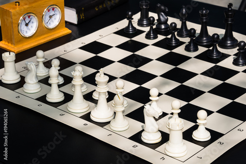 Chess Game Board with Chess Pieces, Timer, and Rules Book