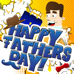 Vector illustrated banner, greeting card or poster for Father's day with text, cartoon man and objects.