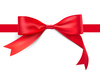 Red bow with ribbon. Vector illustration on white background. Can be use for your design, gift, presentation. EPS10.