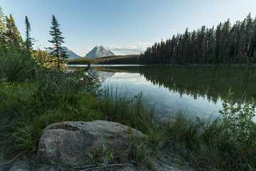 Mountain and Lake in Jasper National Park, Alberta, Canada