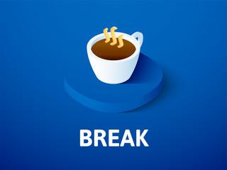 Break isometric icon, isolated on color background