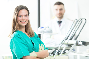 Young beautiful female dentist